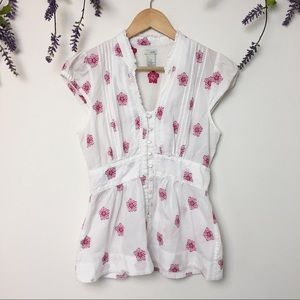 Odille White Pink Embroidered Make Merry Blouse